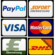 Akzeptierte Zahlungsdienste die Sie im Warenkorb und Kassenbereich auswählen können.